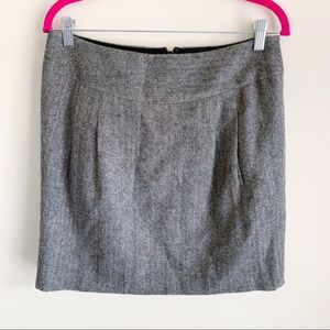 Loft Herringbone Mini Skirt Black Gray Women's 6